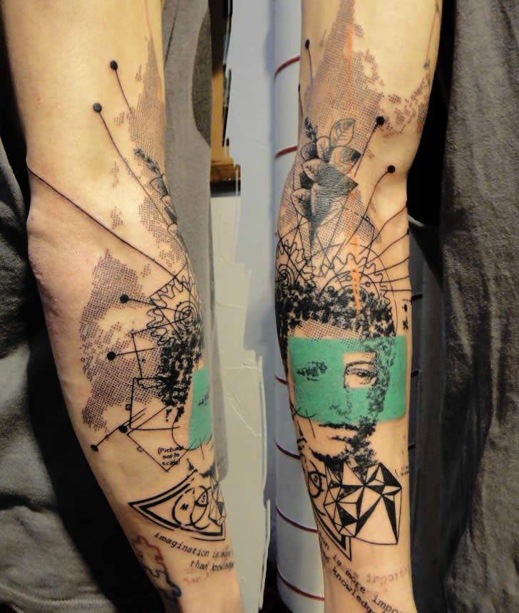 queerrilla:   yagazieemezi:  French artist Xoil has a characteristic tattooing style that looks like he has stamped, stenciled, or drawn directly with a felt-tip pen on his clients' bodies.  Best tatt ever