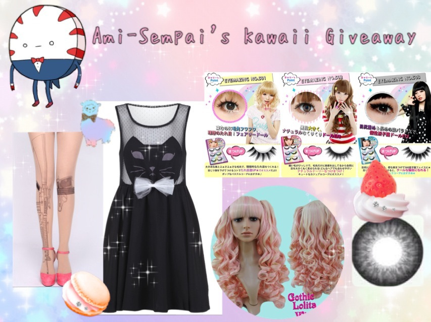 ami-sempai:  Ami-Sempai's 2nd Kawaii Giveaway~! Since the last giveaway went really well, I decided to be nice and give away more stuff~ I have all of these things myself, so I know that they are good quality! What you will win: ♡EOS Super Neon Grey Circle Lens ♡Black Kitty Dress ♡Pink Pigtail wig from GothicLolitaWigs ♡All 3 of Kyary Pamyu Pamyu's Eyemazing Eyelashes ♡Gun Tattoo Tights Rules: ♡You must be following me. I will check. ♡Reblog this as much as you want to increase your chances. But be mindful of your followers. c: ♡Giveaway blogs are okay c: ♡Your ask box must be open so that I can tell you if you won or not. ♡You need to be comfortable with telling me your address so I can ship the goodies to you. -I will be choosing the winner with random.org -Winner will be chosen by May 1st, so that will be when the giveaway ends. -Do not delete the text. This giveaway is also INTERNATIONAL. NOTE- The dress is in a size Medium. I worn it once to find out it doesn't look very pleasing on me otl so that why I'm giving it away xD If you have any questions, comments, or concerns, ask me in my ask box here: http://www.ami-sempai.tumblr.com/ask
