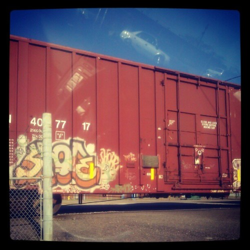 Chilling in the parking lot until I go in to work. #trains #graffiti #streetart