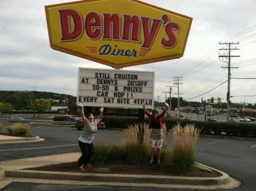 dennys:  True Denny's fans take pictures in front of every diner they come across.  So, Rachel and I made it onto the Denny's blog. Pretty sure I can die now.