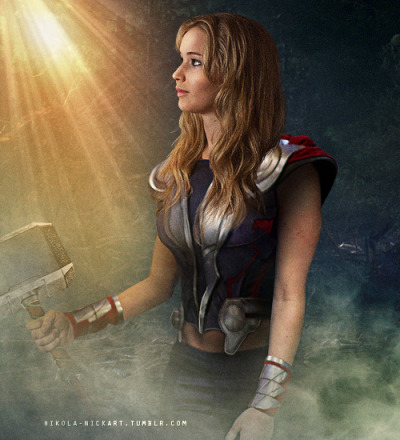 nikola-nickart:  THE AVENGERS - GENDER SWAP   Thor - Jennifer Lawrence    Best thing ever.