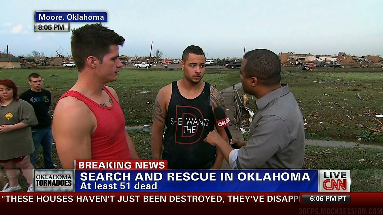 malomonk:  b1tchf1tz:  my thoughts go out to everyone affected in Oklahoma but this is just TOO perfect  Murphy's law of being on TV: when you are being interviewed on the fly, you'll be wearing the one shirt you never really wanted people knowing you owned.