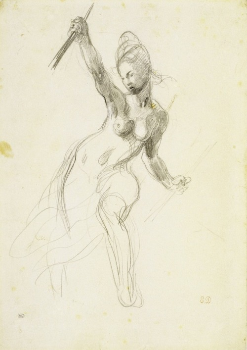 "les-sources-du-nil:  Eugène Delacroix (1798-1863) Study for ""Liberty Leading the People"", circa 1880 Graphite & black chalk lightly heightened with white chalk, on wove. (Réunion des Musées Nationaux)"