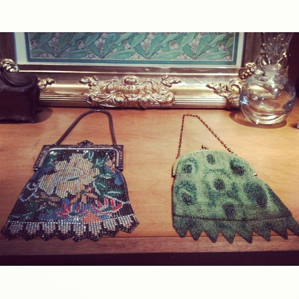 Beautiful hand beaded vintage purses. 😍 (at What Goes Around Comes Around)