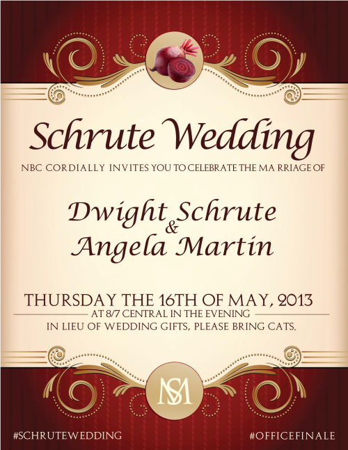 theofficenbc:  This Thursday at 8/7c, Dwight & Angela are tying the knot. Your presence is respectfully requested.