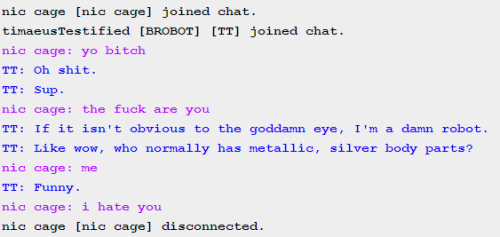 brobot-tt:  Let me tell you about this thirty second chat I had with a Nic Cage.