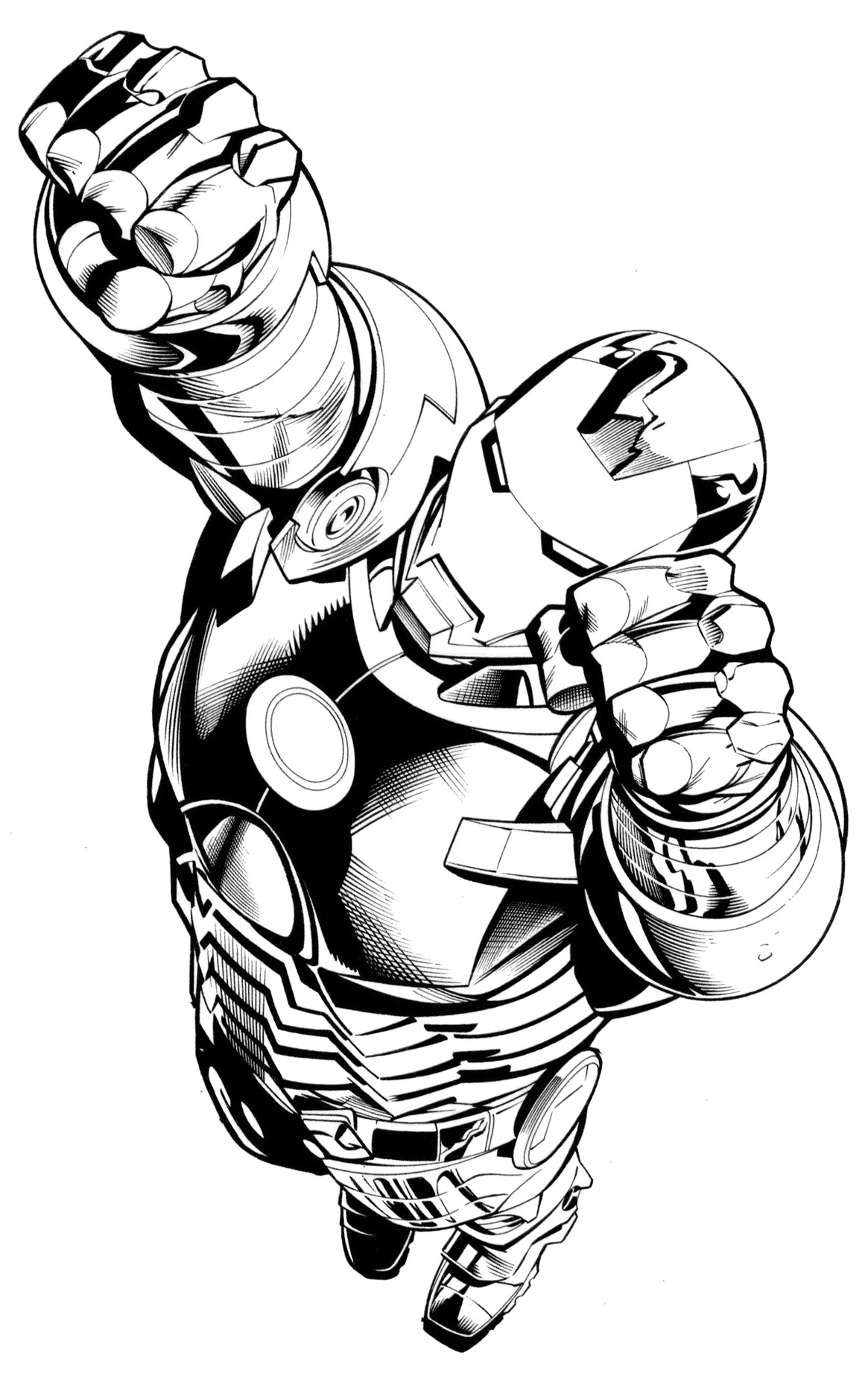 Ink drawing of Iron Man by Drew Geraci.