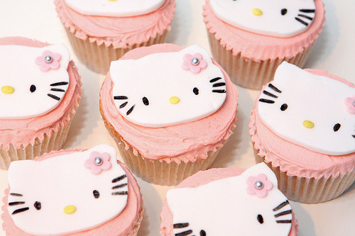 Hello Kitty Cupcakes with Strawberry Frosting