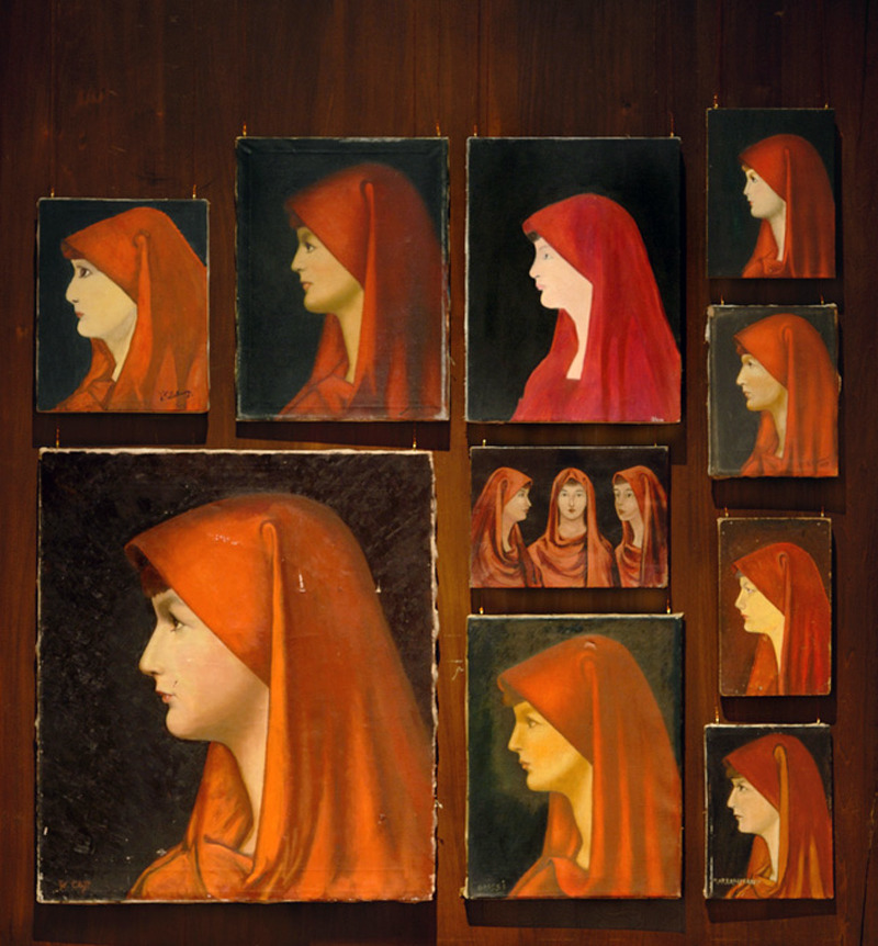 "Francis Alys - Fabiola (2008) ""The story of St. Fabiola, a 4th-century Roman aristocrat from the Fabia family who is supposed to have been an early Mother Teresa, became popular in the late 19th century, and an 1885 portrait of her by a French academician (which is now lost) has since been endlessly copied around the world.  Appearing on postcards, posters and religious trinkets, Fabiola has been a beloved subject for countless painters, most of them amateurs. The portrait's format is almost always the same: Fabiola is seen in profile facing left, her head covered by a rich red veil. Mr. Alys, who was born in Belgium in 1959 and moved to Mexico City in 1990, began collecting Fabiola paintings—as the genre is called—about 15 years ago, buying them at thrift shops, flea markets and antiques stores primarily in Mexico and Europe. He has previously shown his collection three times, when it was much smaller; the current presentation includes more than 300 works."""