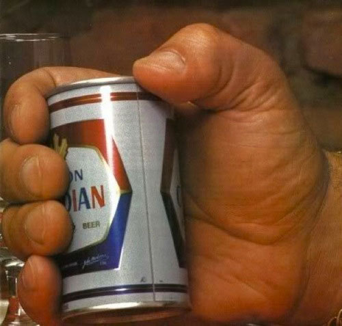andre the giant's hand holding a beer