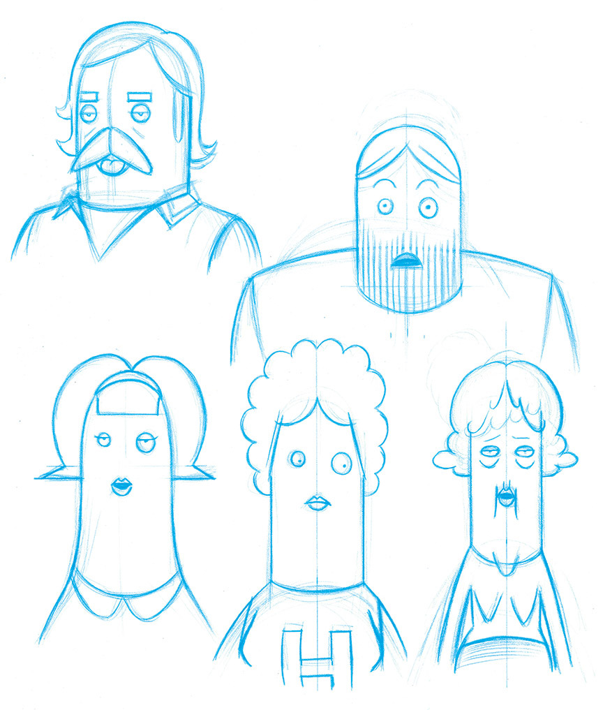 Character designs for an animation project.