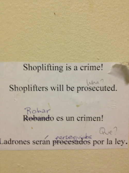 Come on Macy's! If you're going to attempt to discourage your thieves, don't let your taggers/vandals do the work for you! #spanglish #graffitigrammar #macys #lossprevention #tftw