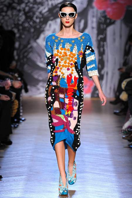 Tsumori Chisato Fall 2013, crazy knit/crochet creation!!!  You can zoom into the photo on style.com via style.com