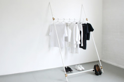 i-love-aesthetics:   DIY : a deconstructable clothing rack from plumbing parts