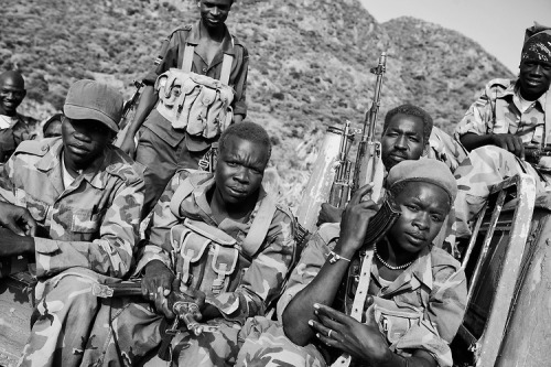 Sudan People's Liberation Army (SPLA) fighters in an undisclosed location in South Kordofan. July 5, 2011. Photo by John D. McHugh.