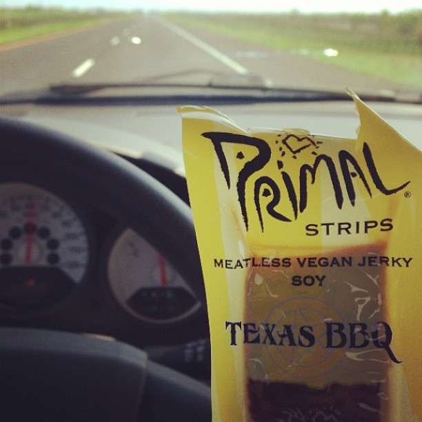 For the hungry vegan on the road in Texas. Next best thing to home hunted/made jerky.
