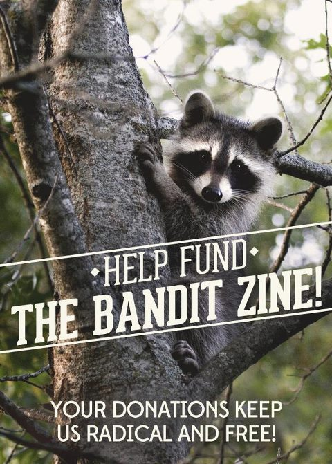 To keep our zine free and accessible in our community, we need your help. It costs us $40 to print each issue, and although most of this comes from our own pockets, it'd mean A LOT to all of us if you could donate $1, $5, or even $10 to the cause. Donate whatever you can afford here: https://www.wepay.com/donations/help-fund-the-bandit-zine