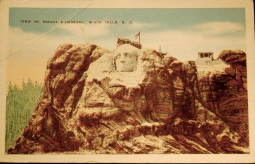 althistories:  A vintage postcard from the late 1920s showing Mount Rushmore, then under construction. The monument to America's President's would not be completed until 1941.