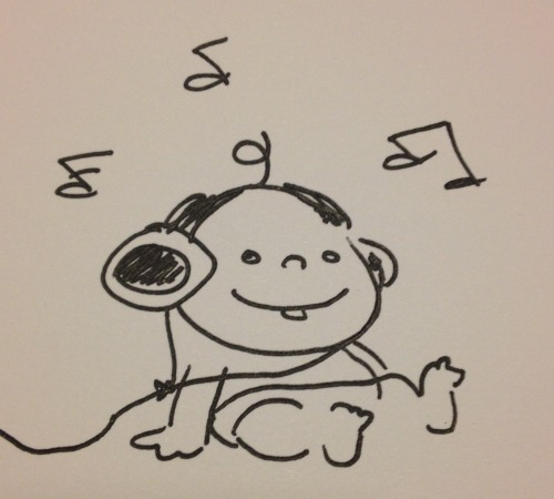 Doodle on a card for a friend's babyshower. Daddy is a sound engineer.