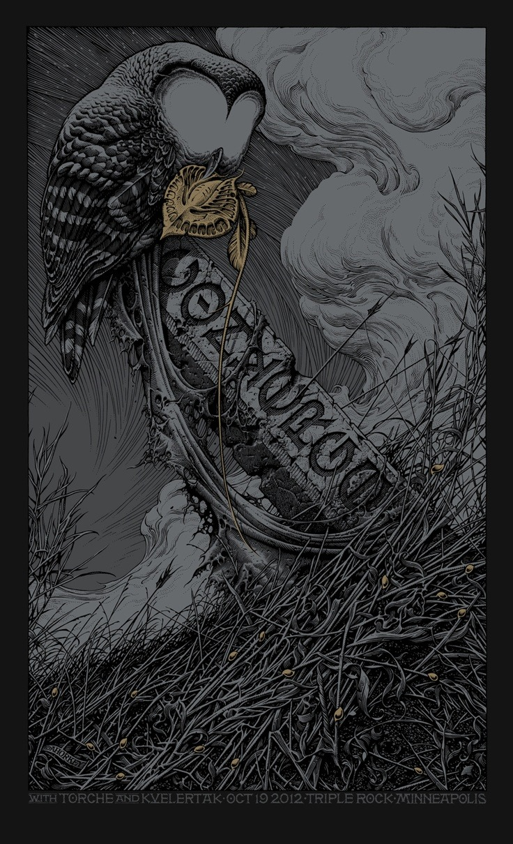 pyramidmirrors:  To Harrow a Naif, Converge Tour Poster version. Aaron Horkey