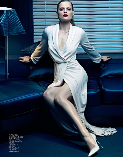 iowntherunway:  White Touches  Guinevere van Seenus by Sharif Hamza for Vogue China December 2012 See more from this set here