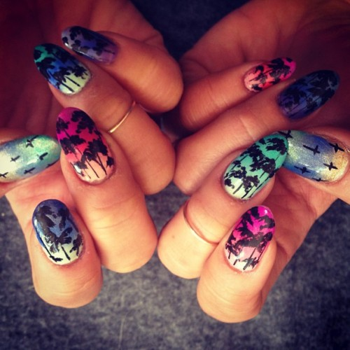 ninjahijackyou:  Sorry for the nail spam. Last one of the @shopncla inspired palm trees!