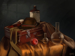 Still life speed paint study for a group on Deviantart.  Reference image is by Dasha-KO. Time limit was 2 hours and I used up every bit! >.> I haven't painted a still life for a looong time. It was interesting to go back and do one again. The time limit thing is still pretty new to me and it was trying on this because I wanted to get lost in the textures and couldn't allow myself to do that. I think I need to pay more attention to reflective light. I wish I had more time to go in and make the highlights stronger. It's overall very dark when compared to the original image. On DA
