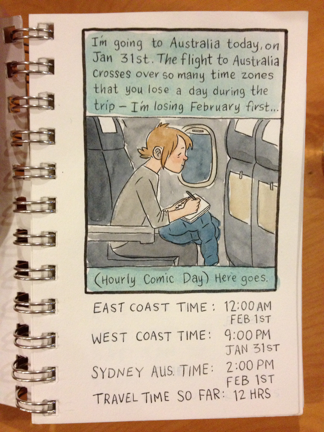 I've been sitting on my hourly comic due to limited Internet on my travels and also because I drew most of it when I was on a plane and jet lagged and it isn't entirely up to my usual HCD standard. But here is the first panel for you anyway!  Posting from a cafe in Melbourne. It's a lovely city, but I don't think there is a single person out on the street who isn't holding hands with someone. What's the deal, Melbourne? Can a single lady get a little peace from your bounteous LURVE!? And what's the deal with a place so far from home that when you feel loneliest you can't even call home because its like 5am!?