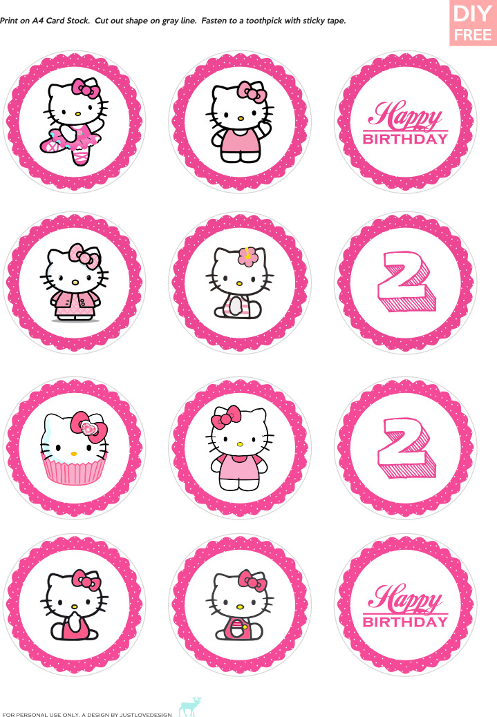 Justlovedesign diy free hello kitty cupcake toppers for Hello kitty cupcake topper template