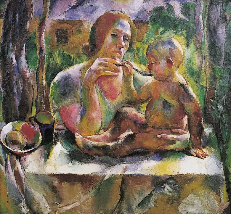 Tea in the Summer Garden (Mother's Son) by Vilmos Aba-Novák