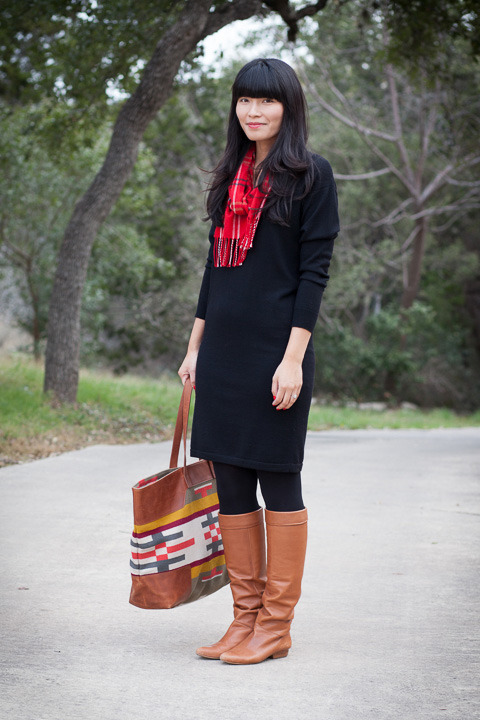 2013. blackout. ralph lauren sweater dress. italian scarf. merona tights. pour la victoire boots. pendleton canyonville tote.if you peruse the blog archive, you'll notice that i rarely wear black. my wardrobe is mostly blues, neutrals, and brights here and there.before christmas, i found myself craving a simple black sweater dress. it had to be dark black (not charcoal), long (not short), and cute (not un-cute). my dream came true a few weeks ago when i snagged this dress at tj maxx.have you ever gotten a good deal on an item from your wish list?the look | similar dress | similar scarf | similar boots | bag