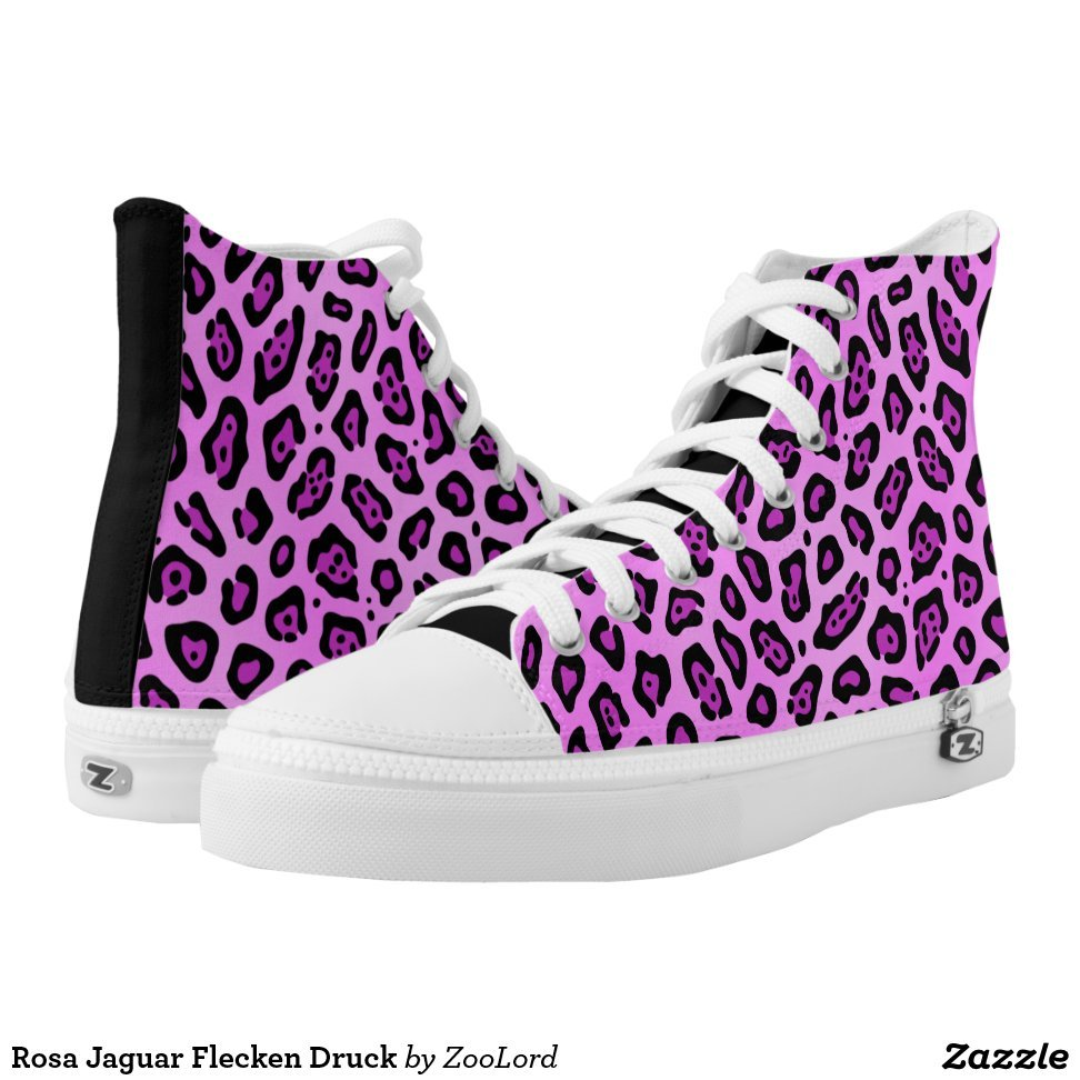 Rosa Jaguar Flecken Druck High-Top Sneakers - Unique Canvas Shoes With Interchangeable Tops  External image  Buy This Design Here: Rosa Jaguar Flecken Druck High-Top Sneakers Created by Fashion Designer: ZooLord Look sporty, stylish and elegant in a pair of unique custom sneakers! Each pair of custom Low Top ZIPZ Shoes is designed so you can fit your style to any wardrobe, mood, party or occasion. Fashionable sneakers for kids and adults, ZIPZ shoes give you a unique and personalized way to express yourself!Rosa Jaguar Flecken Druck High-Top Sneakers Product Information - Unisex sizing: 4-13 Men's | 6-15 Women's - Material and fabric: Durable canvas tops, rubber soles - Buy multiple pairs! ZIPZ shoes are interchangeable, the top cover can be zipped on and off so you can easily switch up your style on the go - Rubber soles are manufactured with extra cushioned insoles and a specially designed arch support system to give your feet a comfortable and healthy fit - Quality you can trust: ZIPZ has been independently tested by SATRA for wear, use, and durability - Additional cost for designing on the tongue of the shoe - Rosa Jaguar Flecken Druck High-Top Sneakers are printed in Santa Fe Springs, CA #sneakers#shoes#footwear#style#fashion#sports#fashionista#OOTD#streetwear#fashionblogger