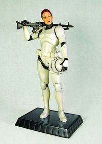 "A female Stormtrooper. A clone? Nope; a Corellian as a heavy artillery expert in ""Joker Squad"". (via Star Wars Female Stormtrooper Statue at TFAW.com)"
