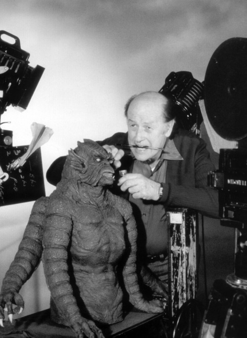 Ray Harryhausen preparing the Kraken for Clash of the Titans before filming.