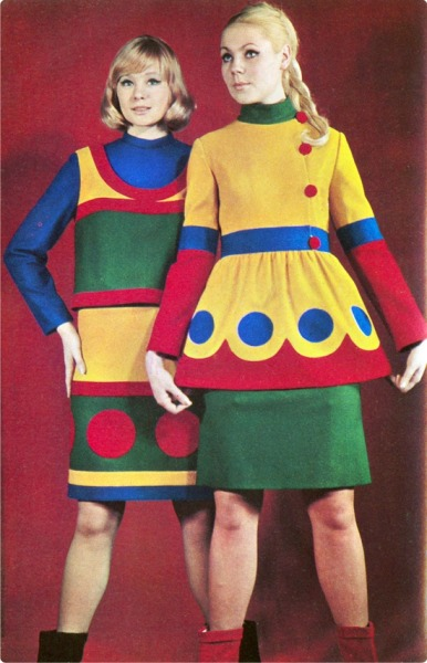 theswinginsixties:  1960s colour blocked fashions in Sputnik magazine.