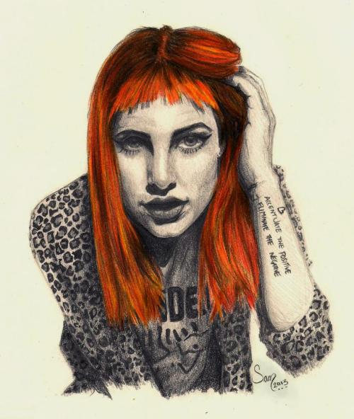Hayley Williams from ParamoreI decided to draw her since their new album just came out last week~I spent roughly 10 hours working on this over a span of four days. Details:8×10 Sketchbook PaperPencils: 2F, H, F, HB, B, 2B, 4B, 6BFaber-Castell Pencil ColorsFinished April 12, 2013Follow the source link for progress shots.