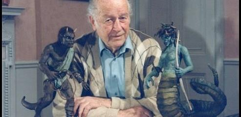 The master of stop-motion animation, Ray Harryhausen, with two of his creations for the original Clash of the Titans (1981): Calibox and Medusa.