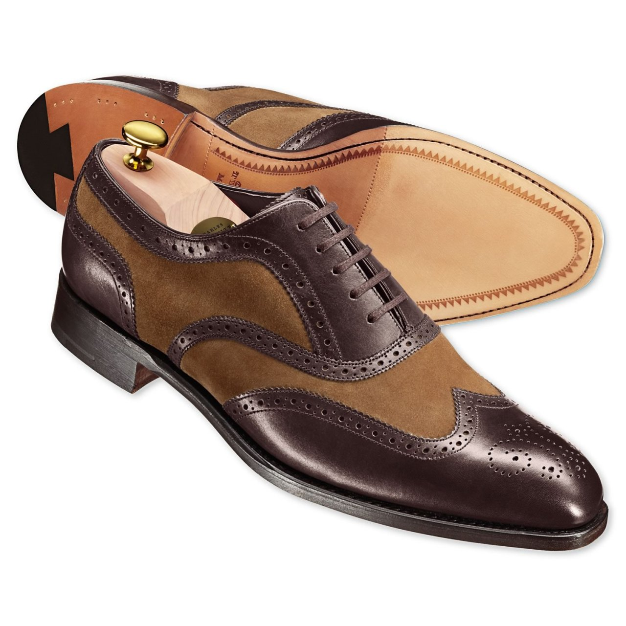 Brown calf & suede correspondent shoes at Charles Tyrwhitt