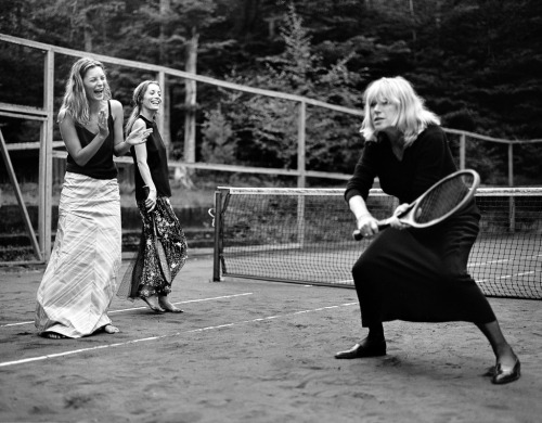 Kate Moss, Lucie de la Falaise, and Marianne Faithfullphoto by Bruce Weber