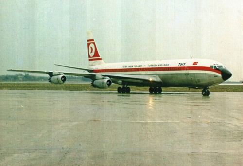 airplanepostcards:  Turkish Airlines Boeing 707 (airline-issued) Another sad postcard from Turkish Airlines. For sure they have changed and now claim to be the best airline in Europe.