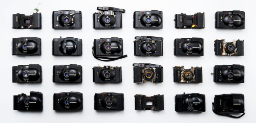 camera-porn:  design-photographs:  Olympus XA Cameras in various states of disrepair Austin Calhoon Photograph www.austincalhoon.com  UNF.