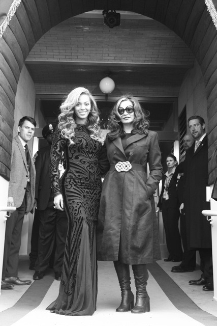 Beyoncé and her mom, Tina Knowles, at the 2013 Inauguration of President Obama.