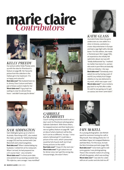 Beauty contributor, Sam Addington is featured in the June 2013 issue of British Marie Claire.