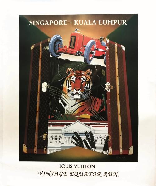 Affiche de Gérard Courbouleix dit 'Razzia' pour Louis Vuitton 1993. - source LiveAuctioneers. #louis vuitton#gérard courbouleix#razzia