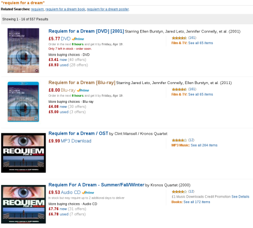 Amazon search for requiem for a dream:  DVD: £5.77 Blu-ray: £8.00 Soundtrack (CD): £9.53 Soundtrack (MP3): £9.99 It seems strange to me that an ephemeral download of the soundtrack to a film is almost twice the price of a physical object containing the entire film; and that a physical object of the soundtrack is cheaper than the download.  I suppose that the prices do actually correspond to the different products' utility to me: I want to listen to the soundtrack, not watch the film; and I want to listen to it now, on a computer, not tomorrow, on a CD player. (Then again, they don't take into account the entire soundtrack being on YouTube for no money, recognised by the automated content ID system as a live album by a grunge band I've never heard of…)