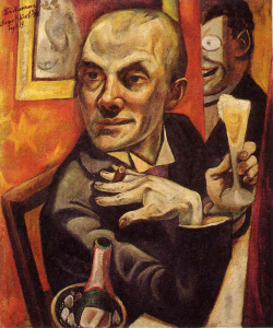 thehighlandrape:  MAX BECKMANN - Self-Portrait with Champagne Glass (1919) Oil on canvas. 95 x 55.5 cm.  Had the chance to see it in front of me in Bonn