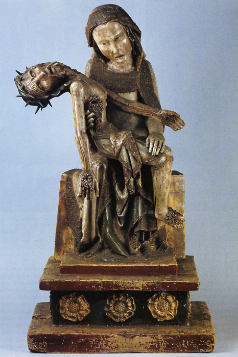 cavetocanvas:  Vesperbild Pietà, 14th Century Germany Things to think about when studying: What elements does this work have that are indicative of a German style of religious art during this time?