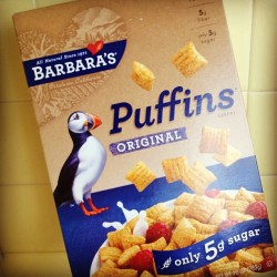 There are many reasons to love this #cereal. 1) delicious 2) #adorable mascot 3) Barbara's Puffins sounds like the title of a '70s British porn-comedy.