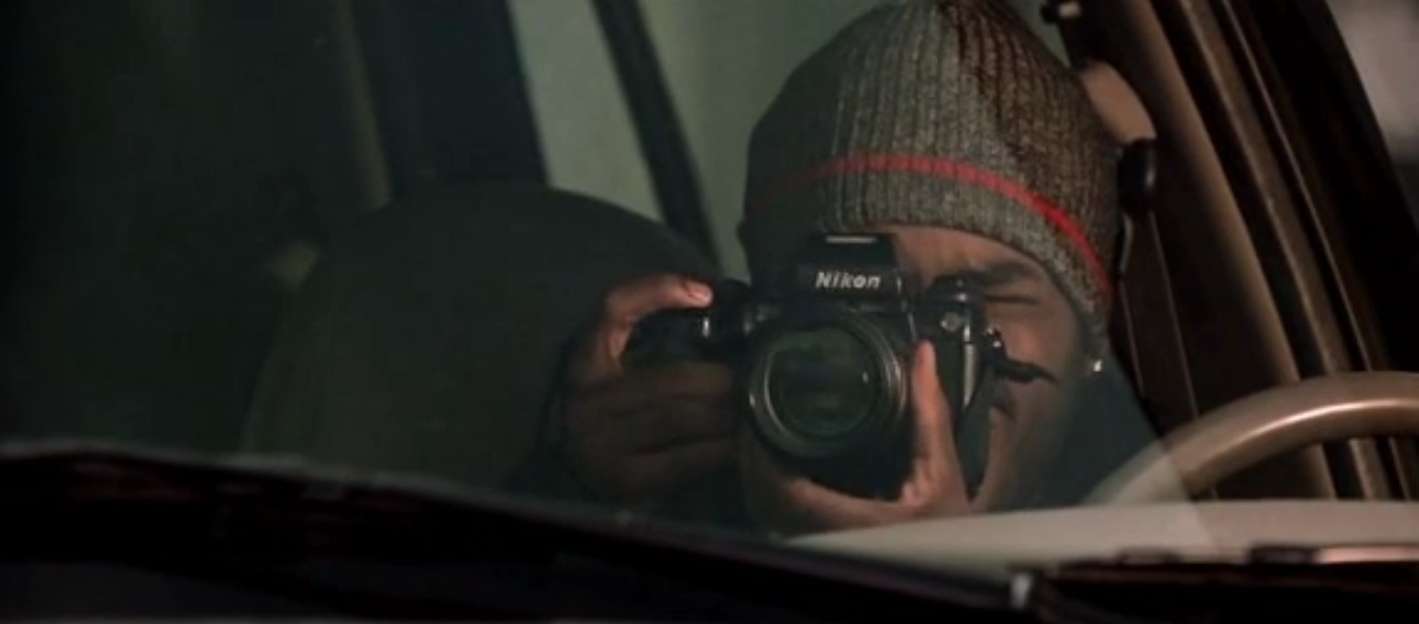 A Nikon F3 being used by Larenz Tate in the 2003 movie A Man Apart.