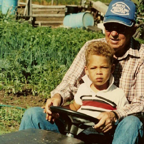 #tbt #throwbackthursday with my grampy in #montana back when I was still #blonde. Swagged out hard!  #cute #kid #boy #90s #farm